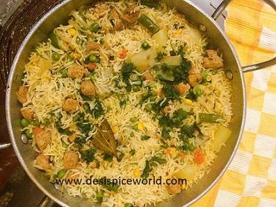 Soya Pulao with Veggies
